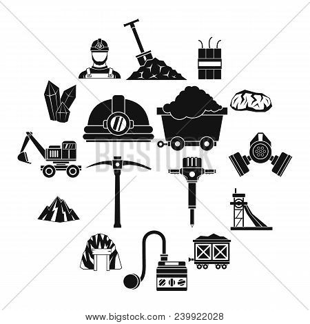 Miner Icons Set. Simple Illustration Of 16 Miner Vector Icons For Web