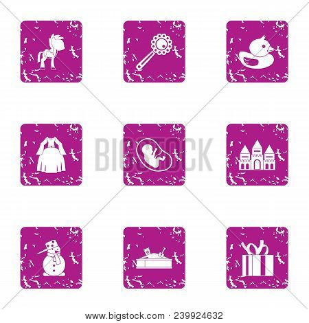 Children Beginning Icons Set. Grunge Set Of 9 Children Beginning Vector Icons For Web Isolated On Wh