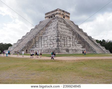 Chichen Itza, Mexico North America On February 2018: Great Pyramid And Tourists In Mayan Town, Ruins