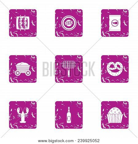 Foodstuff Icons Set. Grunge Set Of 9 Foodstuff Vector Icons For Web Isolated On White Background