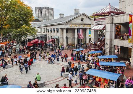 Quincy Market With People Shopping