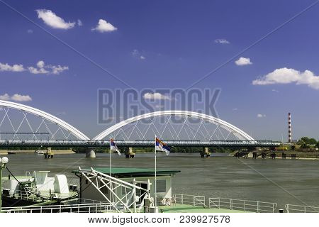 New Bridge In Novi Sad, Serbia. Novi Sad New Bridge. Sunny Day On Novi Sad Shore. Novi Sad. Danube.