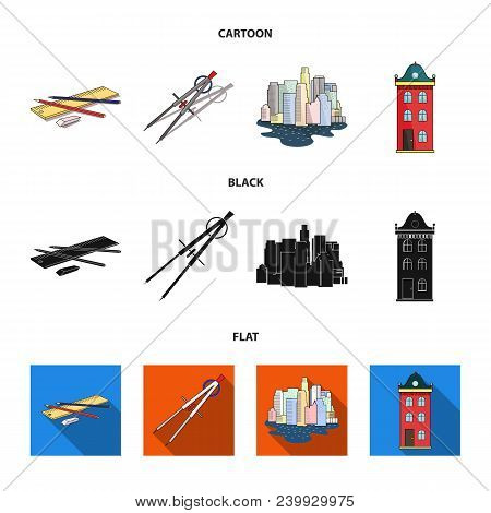 Drawing Accessories, Metropolis, House Model. Architecture Set Collection Icons In Cartoon, Black, F