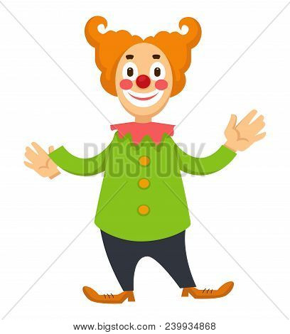 Cheerful Clown In Makeup And Clothes For Performances. Entertainer From Circus Troop In Long Shoes A