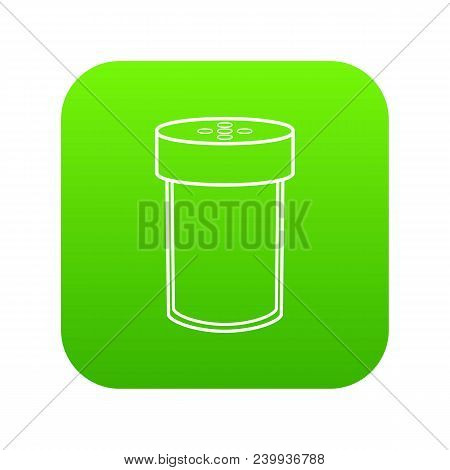 Salt Shaker Icon Green Vector Isolated On White Background