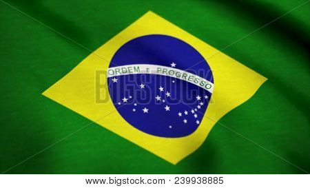 Brazilian Flag Fabric With Waves. Flag Of Brazil Background.