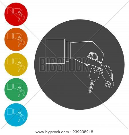 Hand Giving Car Keys, Car Sharing Icon, Simple Vector Icons Set