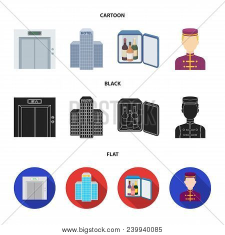 Elevator Car, Mini Bar, Staff, Building.hotel Set Collection Icons In Cartoon, Black, Flat Style Vec