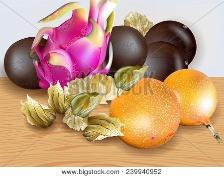 Exotic Fruits Vector Realistic. Dragon Fruit, Granadilla, Passion Fruits, Physalis 3d Illustration