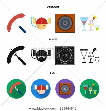 Fried Sausage, Beer Helmet, Cocktails, Speaker.pub Set Collection Icons In Cartoon, Black, Flat Styl