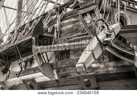Genoa, Italy - May 14, 2017: Anchor Of The Galleon Neptun Old Wooden Ship In Porto Antico In Genoa,