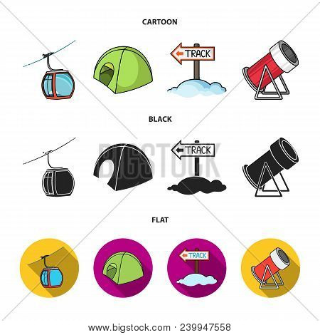 Funicular, Tent, Road Sign, Snow Cannon. Ski Resort Set Collection Icons In Cartoon, Black, Flat Sty