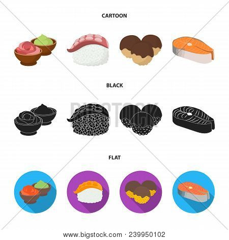 Wasabi Sauce And Ginger, Salmon Steak, Octopus. Sushi Set Collection Icons In Cartoon, Black, Flat S