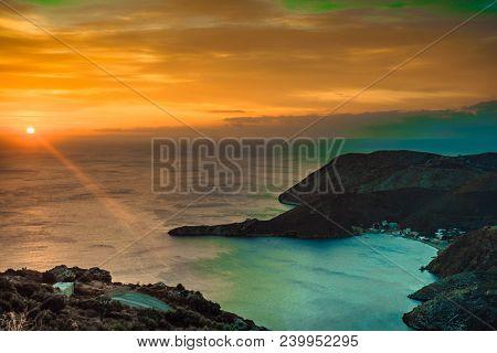 Greek Coastline At Early Morning Sun Rising, Greece Peloponnese Mani. Beautiful Landscape Natural Sc