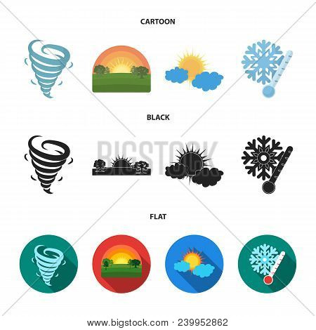 Tornado, Sunrise, Cloudiness, Snow And Frost. The Weather Set Collection Icons In Cartoon, Black, Fl