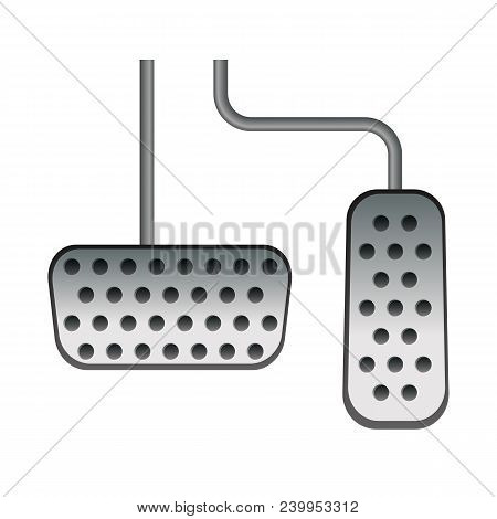 Car Pedals. Gas And Brake. Vector Illustration. Speed Control