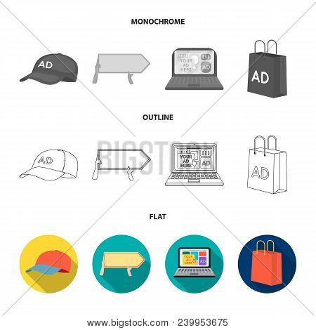 Baseball Cap, Pointer In Hands, Laptop, Shopping Bag.advertising, Set Collection Icons In Flat, Outl