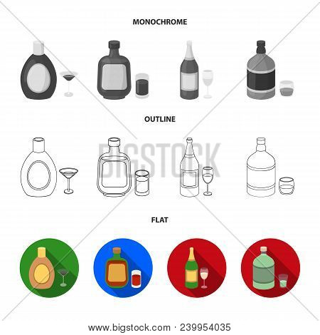 Liquor Chocolate, Champagne, Absinthe, Herbal Liqueur.alcohol Set Collection Icons In Flat, Outline,
