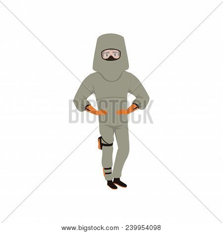 Man standing with arms akimbo in advanced bomb suit and helmet. Explosive ordnance disposal technician. Dangerous profession. Cartoon male character. Colorful flat vector design isolated on white. poster