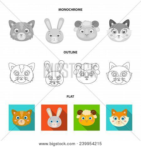 Owl, Cow, Wolf, Dog. Animal Muzzle Set Collection Icons In Flat, Outline, Monochrome Style Vector Sy