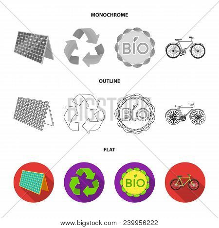 Bio Label, Eco Bike, Solar Panel, Recycling Sign.bio And Ecology Set Collection Icons In Flat, Outli