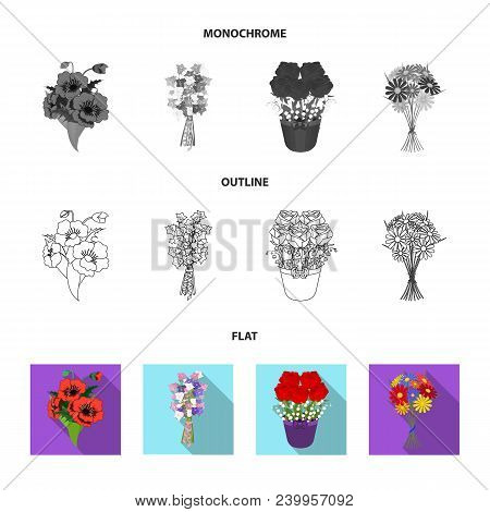 A Bouquet Of Fresh Flowers Flat, Outline, Monochrome Icons In Set Collection For Design. Various Bou