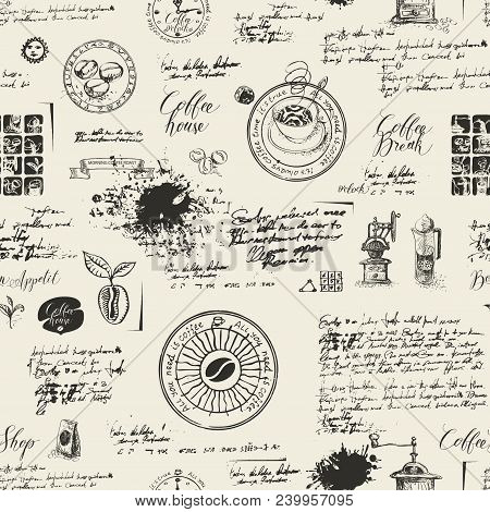 Vector Seamless Pattern On The Coffee Theme With A Various Coffee Symbols, Blots And Inscriptions On