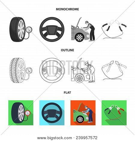 Engine Adjustment, Steering Wheel, Clamp And Wheel Flat, Outline, Monochrome Icons In Set Collection