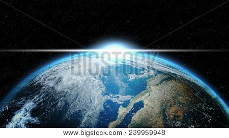 Earth In Deep Space With Lighting Sunlight. Group Of Stars On Black Background. Astronomy And Scienc