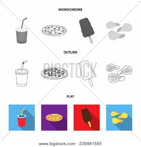 Cola, Pizza, Ice Cream, Chips.fast Food Set Collection Icons In Flat, Outline, Monochrome Style Vect
