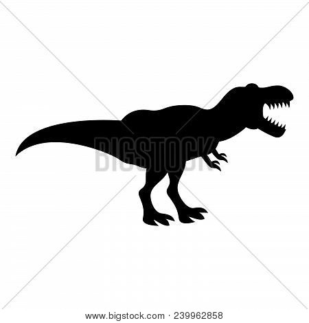 Dinosaur Tyrannosaurus T Rex Icon Black Color Vector Illustration Flat Style Simple Image
