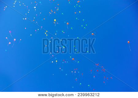 Color Helium Air Balloons Flying To The Clear Blue Sky. Holiday Bright Horizontal Background