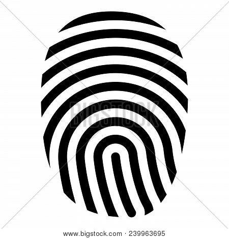 Fingerprint Icon Black Color Vector Illustration Flat Style Simple Image