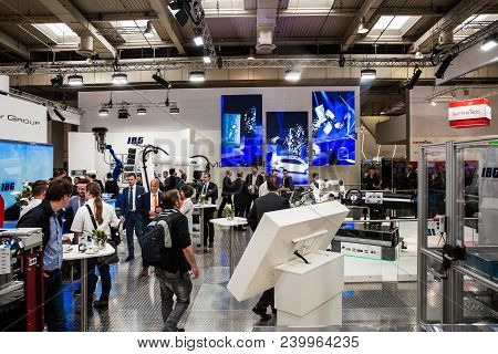 Hannover, Germany - April, 2018: Ibg Presenting Robot And Human Collaboration On Messe Fair In Hanno