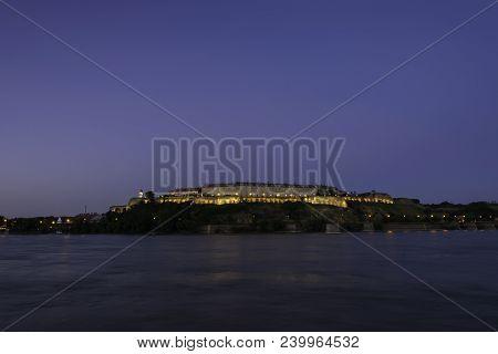 Petrovaradin Fortress In Novi Sad. Petrovaradin Fortress Over Danube River. Evening In Novi Sad. Pet