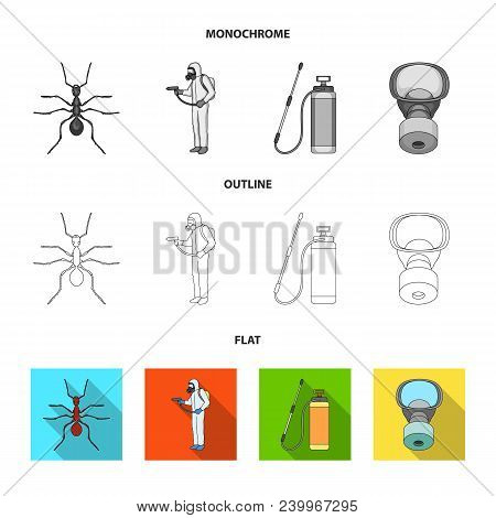 Ant, Staff In Overalls And Equipment Flat, Outline, Monochrome Icons In Set Collection For Design. P