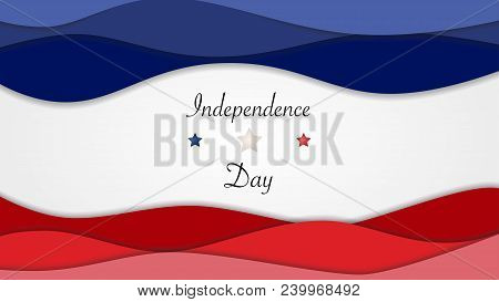 Us Independence Day Background Horizontal Banner With Stars And American Flag Colors. Vector Illustr