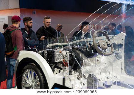 Hannover, Germany - April, 2018: Digital Enterprise In The Automotive Industry, Volkswagen Tiguan Pr