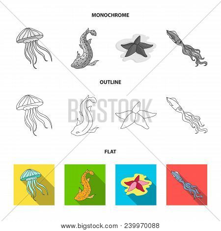 Electric Ramp, Mussels, Crab, Sperm Whale.sea Animals Set Collection Icons In Flat, Outline, Monochr