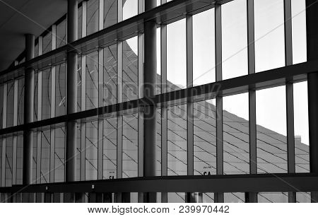 Modern Architecture Offices With Window Glass Front