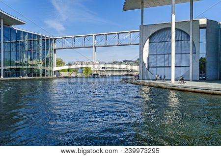 Berlin, Germany - April 22, 2018: River Spree And The Prestressed Concrete Footbridge Mierscheid-ste