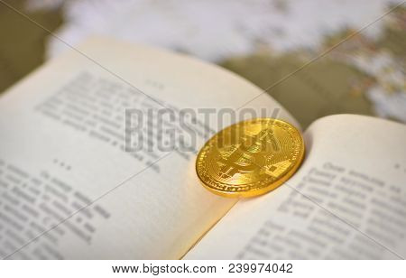 Bitcoin Background. Bitcoin And The Book As A Concept Of Knowledge And Wealth.