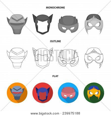Helmet, Mask On The Head.mask Super Hero Set Collection Icons In Flat, Outline, Monochrome Style Vec