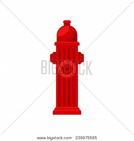 Cartoon Icon Of Red Fire Hydrant. Metal Water Pipe With Nozzles For Hose. Object For Concept About S