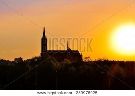 Dark Outline Of Cathedral Basilica Of Assumption