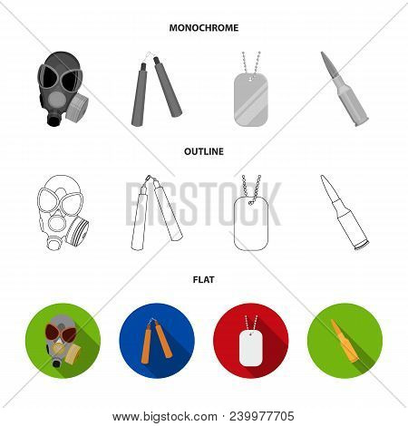 Gas Mask, Nunchak, Ammunition, Soldier Token. Weapons Set Collection Icons In Flat, Outline, Monochr