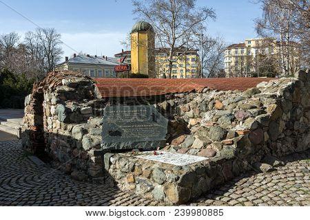 Sofia, Bulgaria - March 17, 2018: Remnants Of Sixteenth Century Turkish Barracks In Sofia, Bulgaria