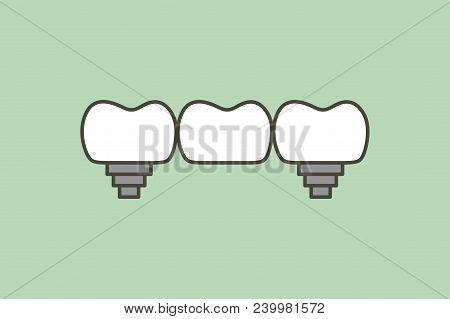 Dental Bridge, Teeth Change New Root - Tooth Cartoon Vector Flat Style Cute Character For Design
