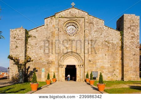 Baiona, Espanha - May 03, 2018 : Person Leaving The Church Of Santa Maria, Pontevedra, Espanha