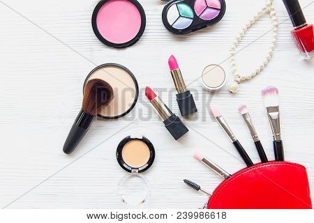Makeup Cosmetics Tools Background And Beauty Cosmetics, Products And Facial Cosmetics Package Lipsti